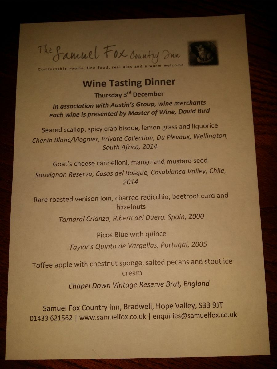 Food and wine matching five course menu