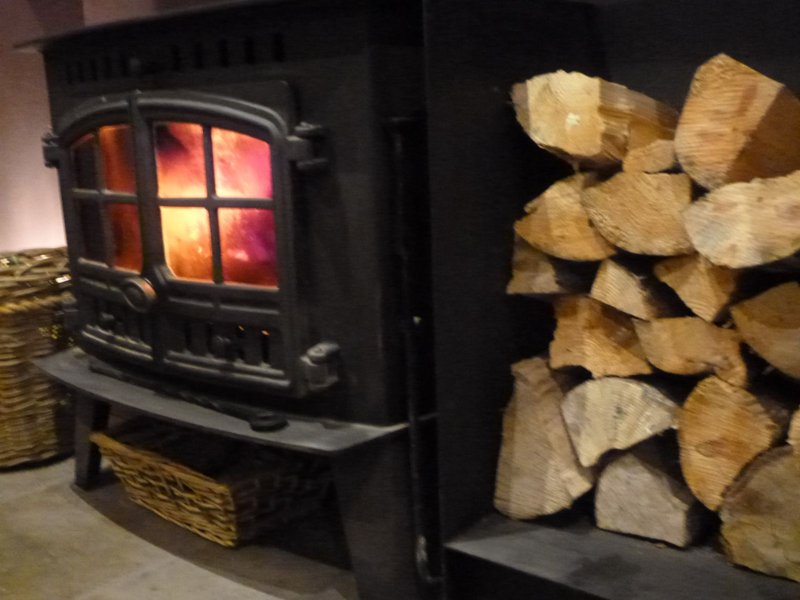A roaring woodburner in the bar