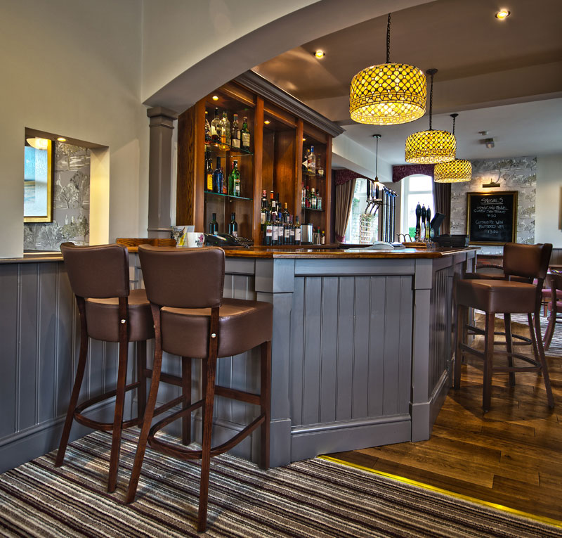 Stylish bar with real ales on tap
