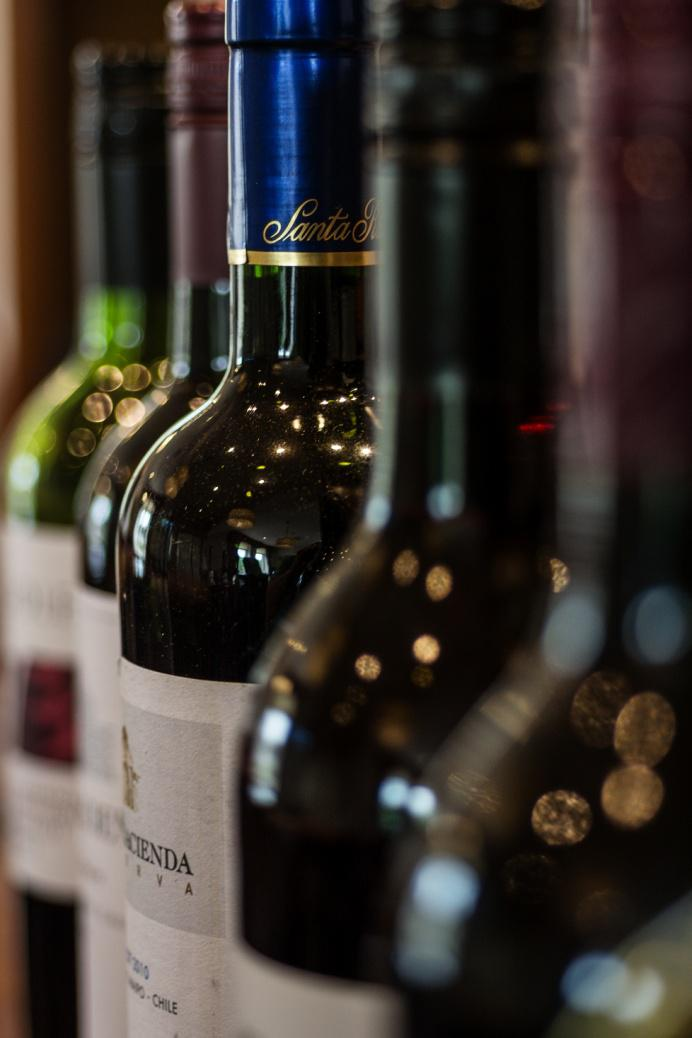 A comprehensive wine list, with many wines available by the glass